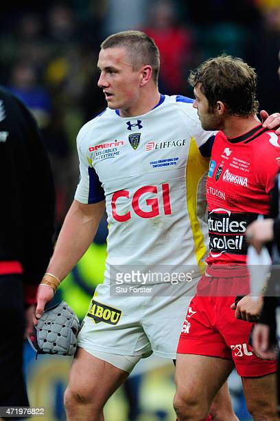 Toulon player Leigh Halfpenny consoles Jonathan Davies after the European Rugby Champions Cup Final between ASM Clermont Auvergne and RC Toulon at...