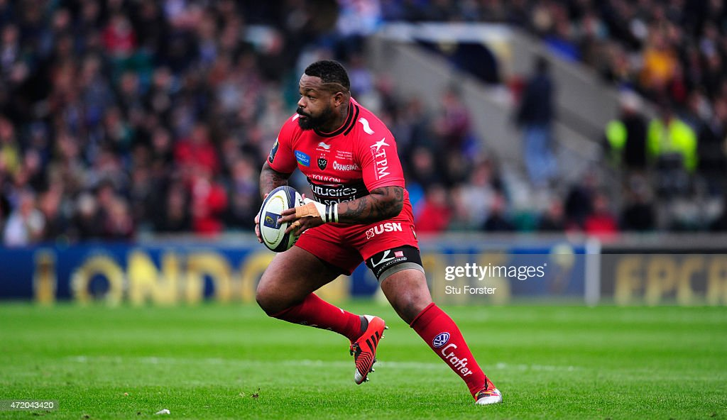 Toulon player <a gi-track='captionPersonalityLinkClicked' href=/galleries/search?phrase=Mathieu+Bastareaud&family=editorial&specificpeople=677501 ng-click='$event.stopPropagation()'>Mathieu Bastareaud</a> in action during the European Rugby Champions Cup Final between ASM Clermont Auvergne and RC Toulon at Twickenham Stadium on May 2, 2015 in London, England.