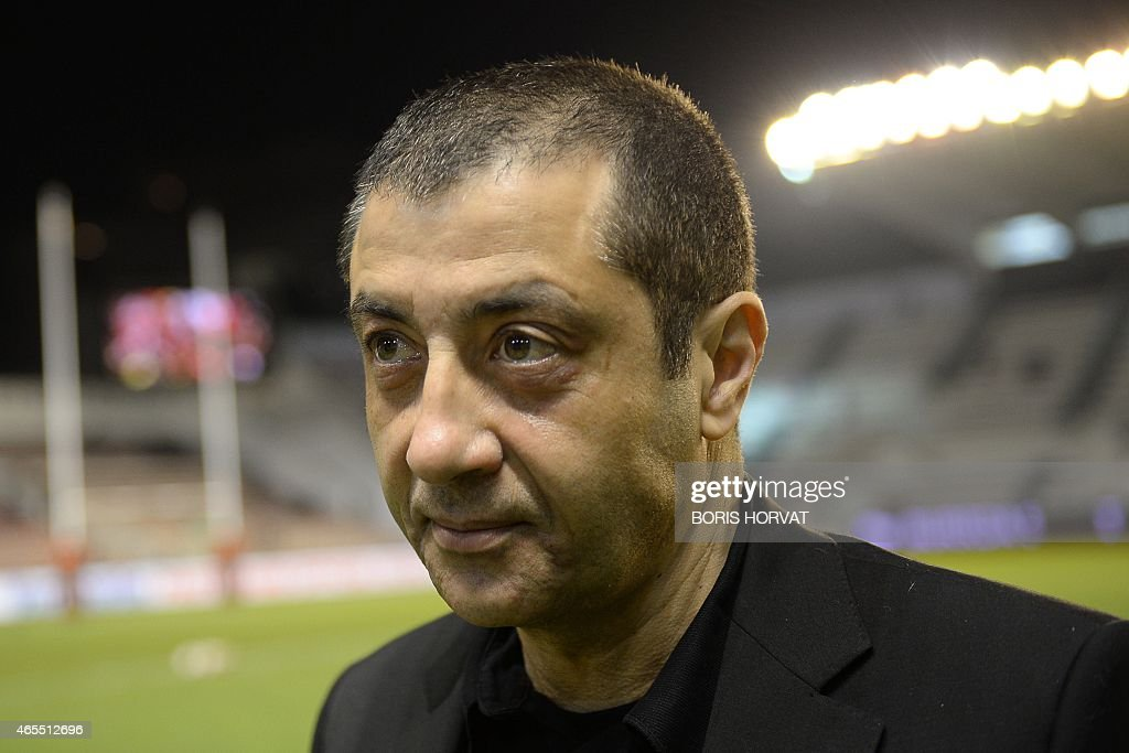 Toulon president <a gi-track='captionPersonalityLinkClicked' href=/galleries/search?phrase=Mourad+Boudjellal&family=editorial&specificpeople=3974182 ng-click='$event.stopPropagation()'>Mourad Boudjellal</a> waits on March 7, 2015 before a French Top 14 rugby union match between RC Toulon and Brive at the Mayol stadium in the southeastern French city of Toulon.