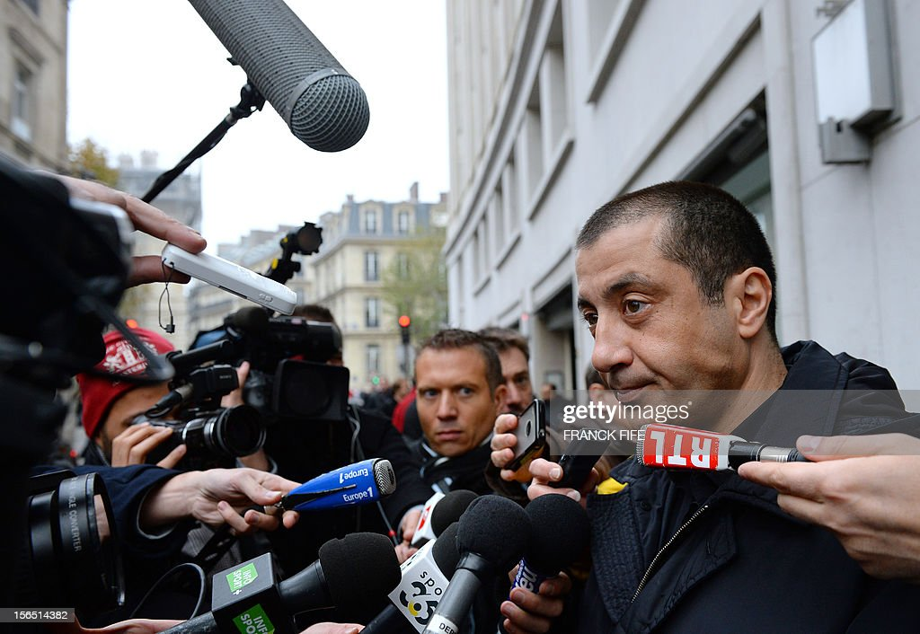 Toulon rugby team president Mourad Boudjellal addresses journalists as he leaves on November 16, 2012 in Paris, after attending the election of the new head of the French national rugby league (LNR), which oversees the professional 15-a-side game in France. Paul Goze, 61, received a four-year mandate as head of the body that manages the Top 14 and Pro D2 divisions, succeeding Pierre-Yves Revol, who was elected in 2008 to take over from former France full-back Serge Blanco (1998-2008). AFP PHOTO / FRANCK FIFE
