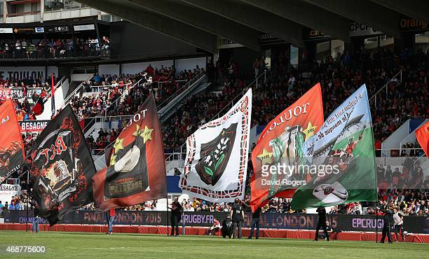 Toulon supportes parade with flags during the European Rugby Champions Cup quarter final match between RC Toulon and Wasps at the Felix Mayol Stadium...