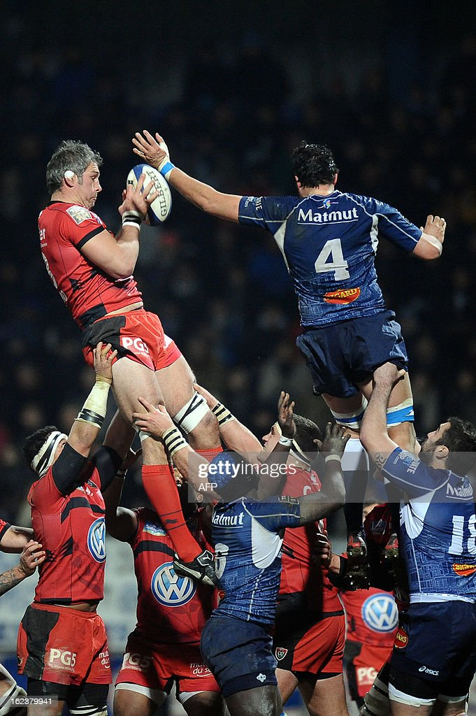 Toulon's Bakkies Botha grabs the ball in a line out during this top 14 rugby match Castres vs Toulon RC at the Pierre Antoine Stadium in Castres,on February 2013.