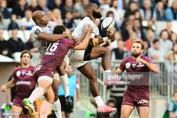 RC Toulon's Fijian winger Semi Radradra grabs the ball during the French Top 14 rugby union match between BordeauxBegles and Toulon on October 7 2017...