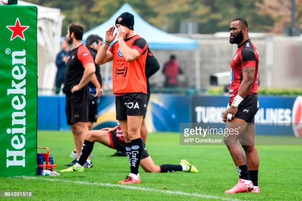 RC Toulon's FijianAustralian centre Semi Radradra is pictured prior to the European Rugby Champions Cup match Benetton Treviso vs RC Toulon at the...
