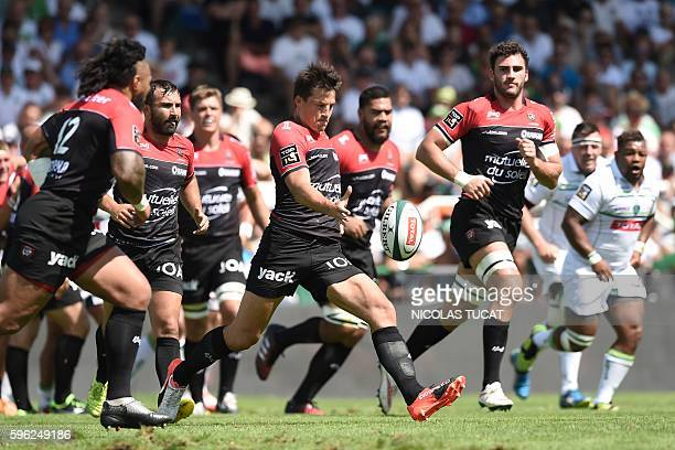 Toulon's French flyhalf Francois Trinh Duc kicks the ball during the French Top 14 rugby union match between Pau and Toulon on August 27 2016 at the...
