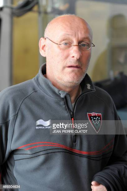 Toulon's french head coach Bernard Laporte arrives before the French Top 14 rugby union match between Grenoble andToulon on april 11 2015 at the...