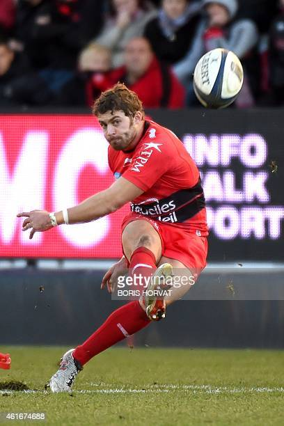 Toulon's full back Leigh Halfpenny kicks the ball during the European Rugby Union Champions Cup match between Toulon and Ulster on January 17 2015 at...