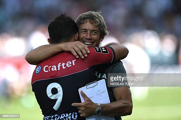 RC Toulon's head coach Diego Dominguez reacts at the end of the French Top 14 rugby union match between Pau and Toulon on August 27 2016 at the...