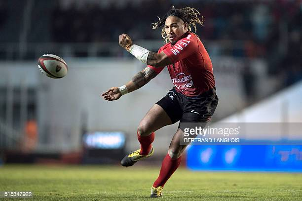 Toulon's New Zealand centre Maa Nonu passes the ball during the French Top 14 rugby union match RC Toulon vs Grenoble on March 12 2016 at the Mayol...