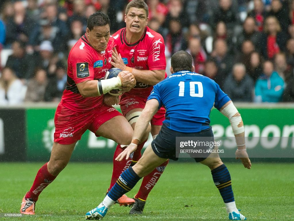 RC Toulon's number eight <a gi-track='captionPersonalityLinkClicked' href=/galleries/search?phrase=Chris+Masoe&family=editorial&specificpeople=540337 ng-click='$event.stopPropagation()'>Chris Masoe</a> (L) vies with Leinster's New Zealander fly-half <a gi-track='captionPersonalityLinkClicked' href=/galleries/search?phrase=Jimmy+Gopperth&family=editorial&specificpeople=561375 ng-click='$event.stopPropagation()'>Jimmy Gopperth</a> (R) during the European Champions Cup rugby union semi final match between Toulon and Leinster on April 19, 2015 at the Velodrome stadium in Marseille, souheastern France.