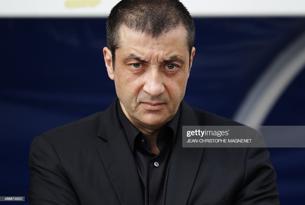 RC Toulon's president Mourad Boudjellal looks on prior the European Rugby Champions Cup 1/4 final match between RC Toulon and London Wasps on April 5, 2015 at the Mayol stadium in Toulon, southern France.