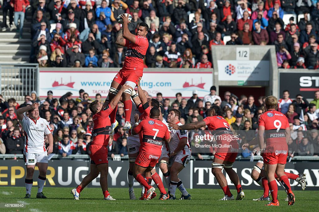 Toulon's Romain Taofifenua collects a lineout ball during the European Rugby Champions Cup Pool 3 game at the Kingspan stadium on October 25, 2014 in Belfast, Northern Ireland.