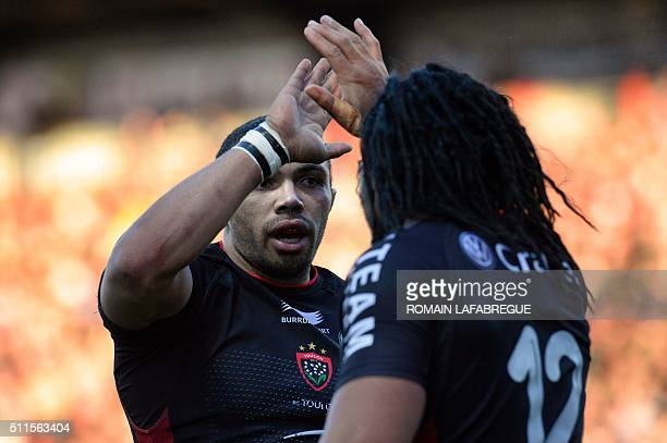 Toulon's South African winger Bryan Habana celebrates a try with Toulon's New Zealand center Ma'a Nonu during the French Top 14 rugby union match...