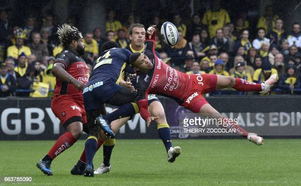 Toulon's South African winger Bryan Habana falls during the European Champions Cup match between Clermont and Toulon at Michelin Stadium in...