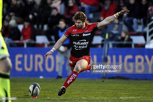 RC Toulon's Welsh fullback Leigh Halfpenny kicks the ball during the European Rugby Champions Cup match between RC Toulon and Sale Sharks on January...