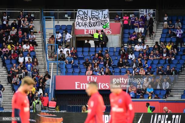 Toulouse fans during the Ligue 1 match between Paris Saint Germain and Toulouse at Parc des Princes on August 20 2017 in Paris