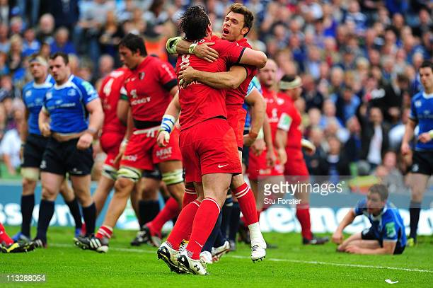 Toulouse number 8 Louis Picamoles celebrates with Vincent Clerc after scoring during the Heineken Cup Semi Final between Leinster and Toulouse at...