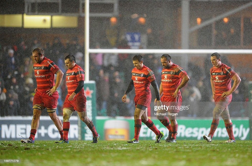 Toulouse players after losing to Tigers in the Heineken Cup match between Leicester Tigers and Toulouse at Welford Road on January 20, 2013 in Leicester, England.