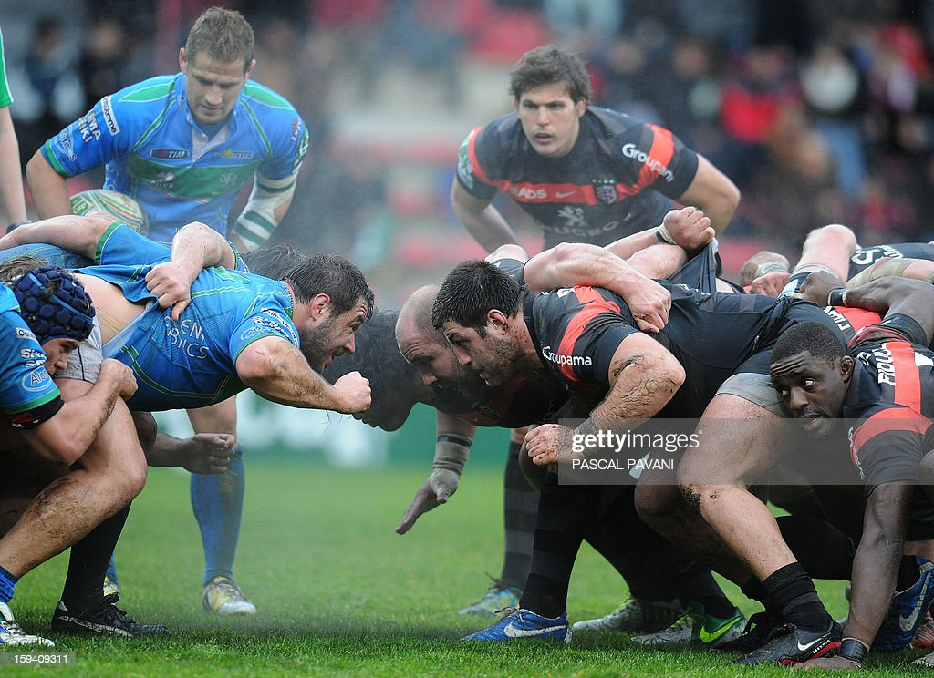 Toulouse's and Trevise's pack get ready to enter a scrum during an European Cup rugby union match between Toulouse and Trevise on January 13, 2013 at the Ernest Wallon Stadium in Toulouse, southern France. Toulouse won the match 35-14.