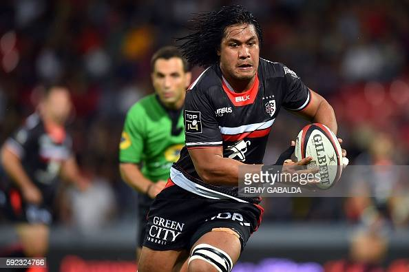 Toulouse's Australian flanker Talalelei Gray runs with the ball during the French Top 14 rugby union match between Toulouse and Montpellier on August...