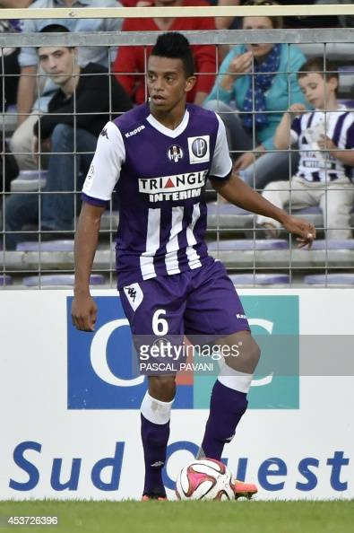 Toulouse's Brazilian defender William Matheus controls the ball during the French L1 football match between Toulouse and Lyon on August 16 2014 at...
