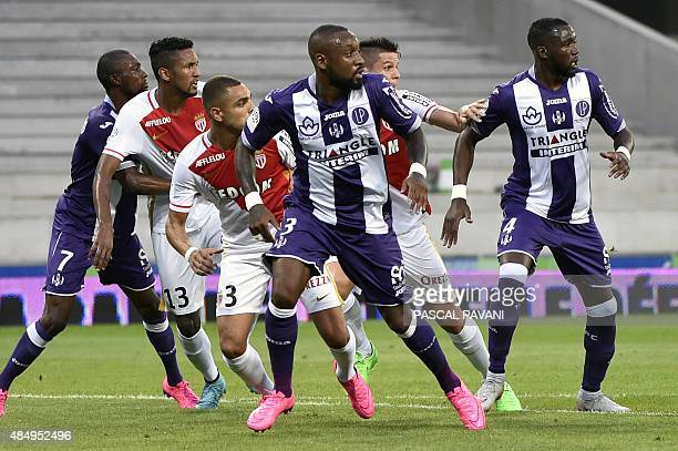 Toulouse's Cameroonian defender JeanArmel KanaBiyik and Toulouse's Malian midfielder Tongo Doumbia are pictured during the French L1 football match...