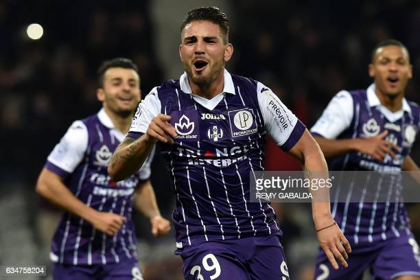 Toulouse's forward Andy Delort celebrates after scoring a goal during the French L1 Football match between Toulouse and Bastia on February 11 2017 at...