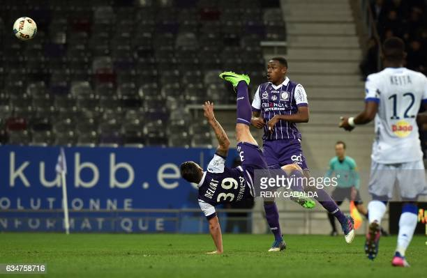 Toulouse's forward Andy Delort scores a goal during the French L1 Football match between Toulouse and Bastia on February 11 2017 at the Municipal...
