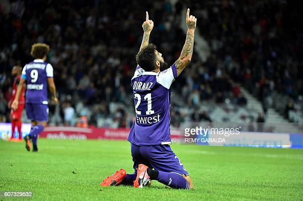 Toulouse's forwards Jakub Durmaz celebrates after scores a goal during the French L1 football match Toulouse against Guingamp on September 17 2016 at...
