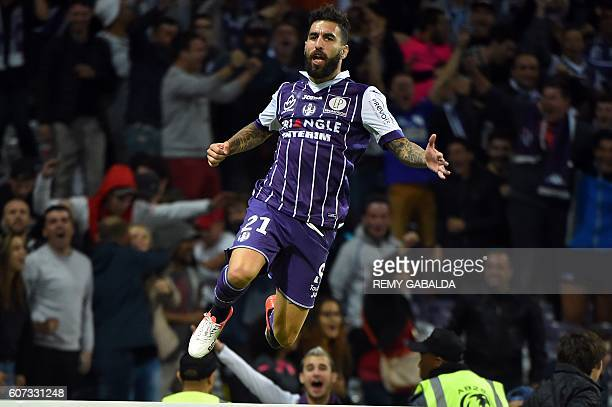 Toulouse's forwards Jakub Durmaz celebrates after scoring a goal during the French L1 football match Toulouse against Guingamp on September 17 2016...