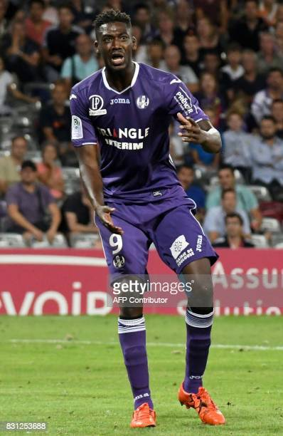 Toulouse's French forward Yaya Sanogo reacts during the French L1 football match Toulouse FC versus Montpellier MHSC at the Municipal Stadium in...