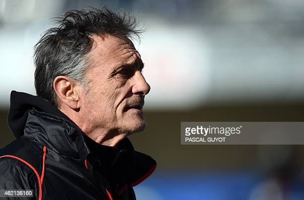 Toulouse's French General Manager Guy Noves waits for the start of the European Champions Cup rugby union match Montpellier vs Toulouse on January 25...