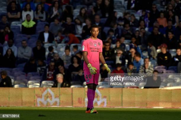 Toulouse's French goalkeeper Alban Lafont looks on during the French L1 football match between Toulouse and Caen on May 6 2017 at the Municipal...