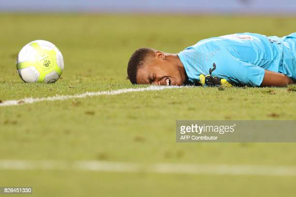 Toulouse's French goalkeeper Alban Lafont reacts during the French L1 football match between Monaco and Toulouse at Louis II Stadium in Monaco on...