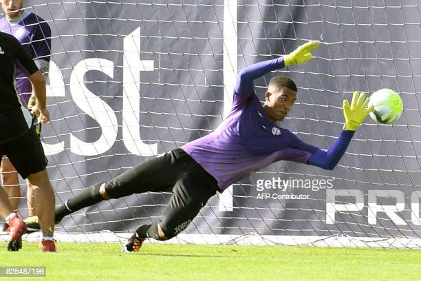 Toulouse's French goalkeeper Alban Lafont takes part in a training session ahead of the upcoming 20172018 season on August 2 2017 at the Municipal...