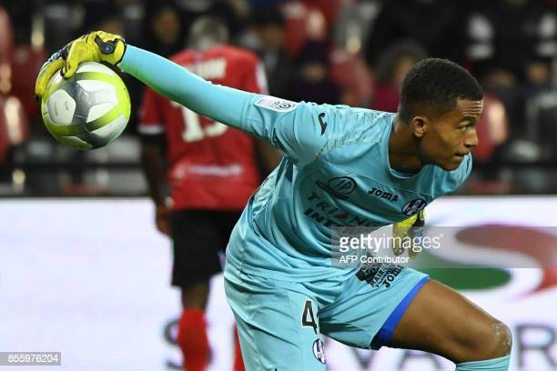 Toulouse's French goalkeeper Alban Lafont throws the ball back into play during the French L1 football match Guingamp vs Toulouse on September 30...