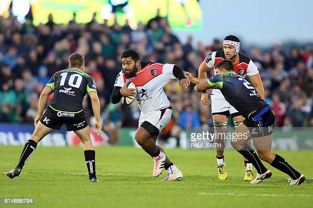 Toulouse's French hooker Christopher Tolofua makes a break during the European Cup rugby union pool match between Connacht Rugby and Toulouse at The...