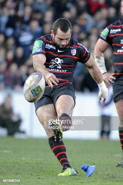 Toulouse's French scrumhalf JeanMarc Doussain hits a penalty kick during the European Cup rugby union match Toulouse against Saracens on January 12...