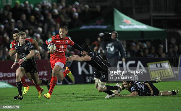 Toulouse's Gael Fickou scores a try after evading a tackle by Connacht's Matt Healy during the European Cup rugby union pool match between Connacht...