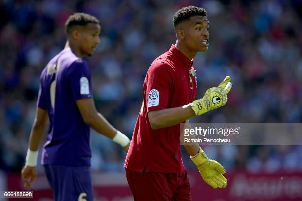 Toulouse's goalkeeper Alban Lafont gestures during the French Ligue 1 match between Toulouse FC and Olympique de Marseille at Stadium Municipal on...