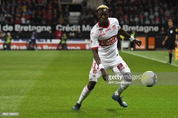 Toulouse's Guinean defender Issiaga Sylla plays the ball during the French L1 football match Guingamp against Toulouse on September 30 2017 at the...