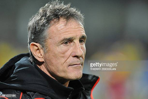 Toulouse's head coach Guy Noves is pictured before the start of the French Union Rugby match ASM Clermont vs ST Toulouse at the Michelin stadium in...