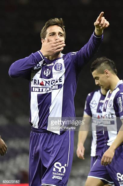 Toulouse's Italian Argentinian midfielder Oscar Trejo celebrates after scoring a goal during the French L1 football match Bastia on April 09 2016 at...