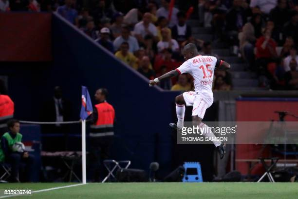 Toulouse's Ivorian forward MaxAlain Gradel celebrates after scoring a goal during the French L1 football match Paris SaintGermain vs Toulouse FC at...