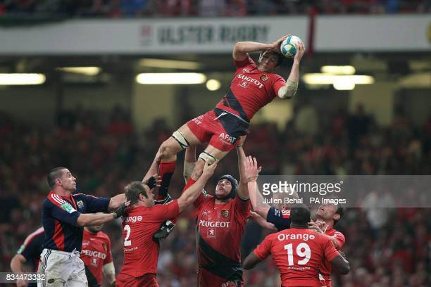 Toulouse's Jean Boulihou climbs higher to catch the ball during the Heineken Cup Final at the Millennium Stadium Cardiff