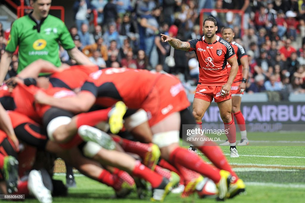 Toulouse's New Zealander fly-half Luke Mc Alister gestures during the French Top 14 rugby union match Stade Toulousain versus ASM Clermont Auvergne on May 29, 2016 at the Ernest Wallon stadium in Toulouse, southern France.