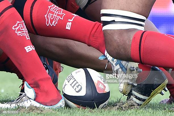 Toulouse's players vie for the ball during the French Top 14 rugby union match Toulouse against Castres on September 5 2015 at the Ernest Wallon...