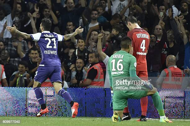 Toulouse's Sewdish midfilder Jimmy Durmaz celebrates after scoring a goal during the French L1 football match Toulouse vs Paris SaintGermain on...