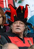 A Toulouse's supporter wearing a jester's hat attends the HCup rugby union match Treviso vs Stade Toulousain at the Comunal Stadio di Monigo in...