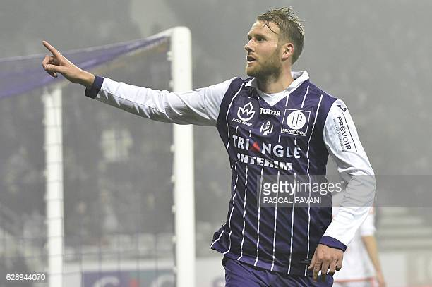 Toulouse's Swedish forward Ola Toivonen celebrates after scoring a goal during the French L1 football match between Toulouse and Lorient December 10...